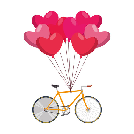 bicycle vehicle and balloons air with shape hearts vector illustration design