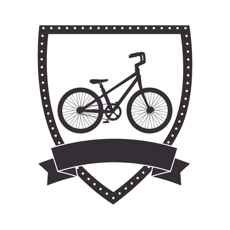 shield with bicycle vehicle vector illustration design