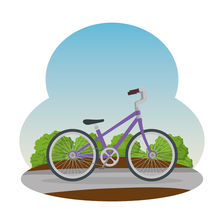 bicycle vehicle on the road vector illustration design