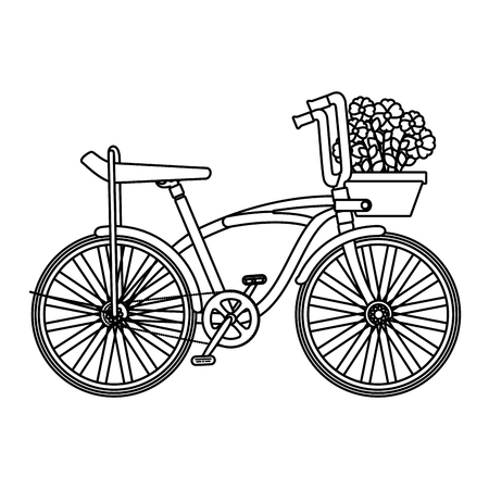 retro bicycle with basket and flowers vector illustration design