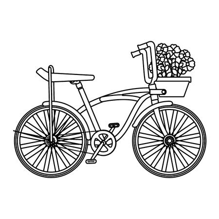 Retro-Fahrrad mit Korb- und Blumenvektorillustrationsdesign
