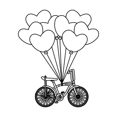 retro bicycle and balloons air with heart shape vector illustration design