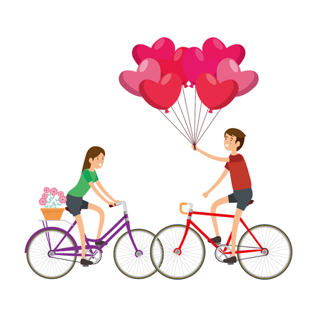 couple in bicycle traveling vector illustration design Illustration