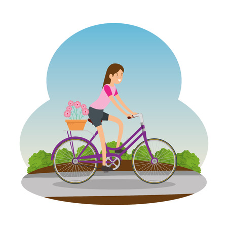 woman in retro bicycle with floral basket on road vector illustration design