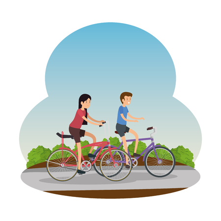 couple in bicycle traveling on the road vector illustration design