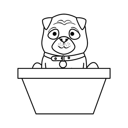 cute dog in basket vector illustration design