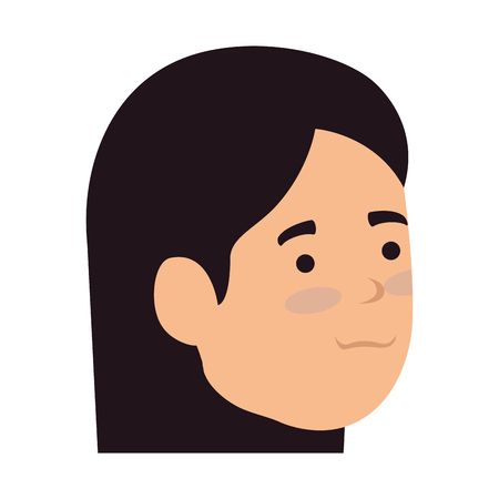 young woman head character vector illustration design