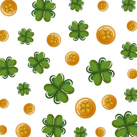 golden coins with clover pattern vector illustration design Foto de archivo - 113913673