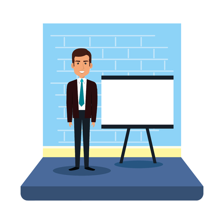 businessman with paperboard training vector illustration design