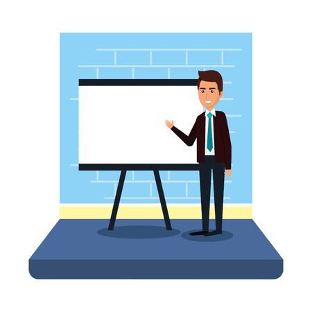 businessman with paperboard training vector illustration design  イラスト・ベクター素材