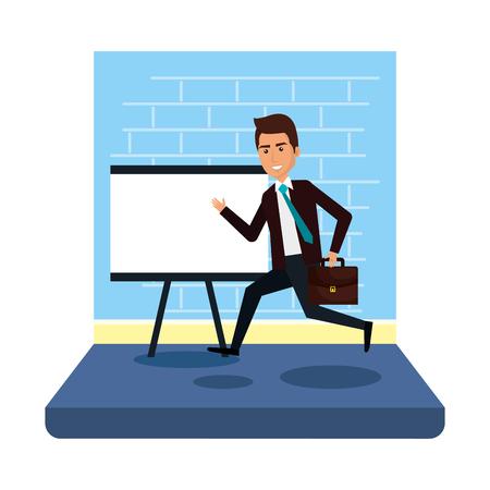 businessman with paperboard training and portfolio vector illustration design Illustration