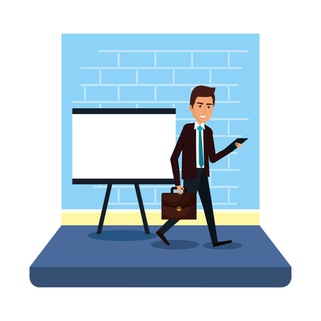 businessman with paperboard training and portfolio vector illustration design  イラスト・ベクター素材