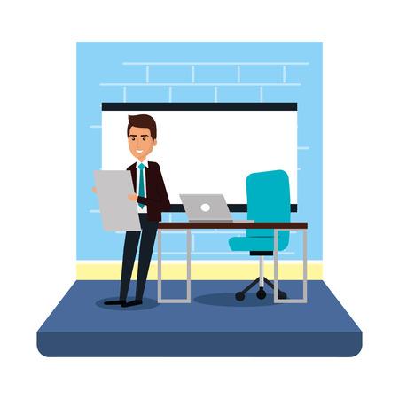 uomo d'affari con cartone formazione in ufficio illustrazione vettoriale design