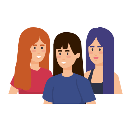 group of women characters vector illustration design