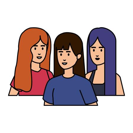 Grupo de personajes femeninos, diseño de ilustraciones vectoriales