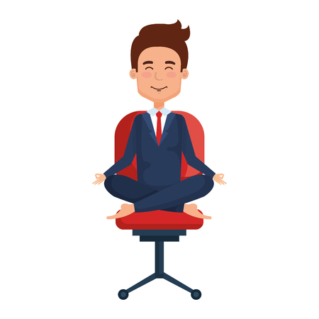 businessman with lotus pose in office chair vector illustration design