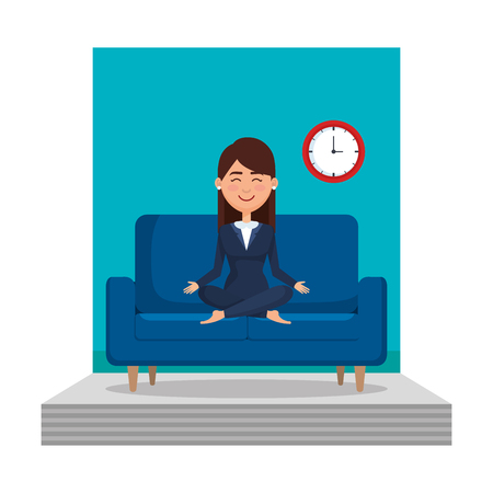 businesswoman with lotus pose in the livingroom vector illustration design
