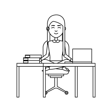 elegant businesswoman with lotus pose in office vector illustration design