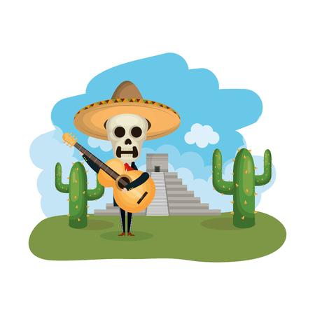 Mariachi con máscara de muerte en el paisaje con ilustración de vector de pirámide