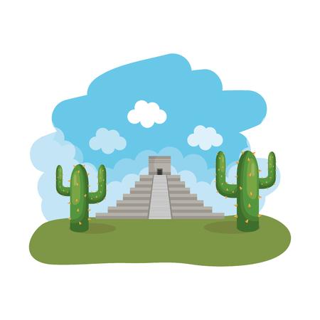 Diseño de ilustración de vector de escena de paisaje de pirámide maya