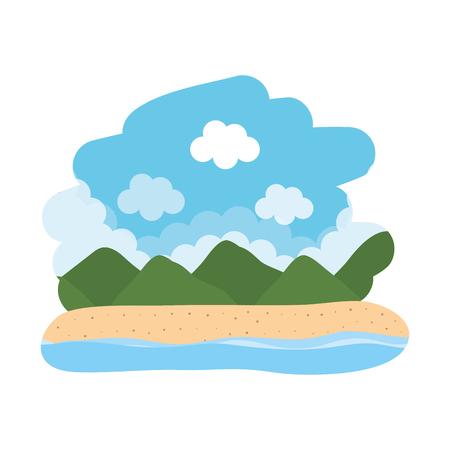 beautiful seascape scene icon vector illustration design