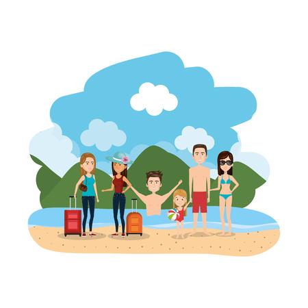 Grupo de familia en la playa, diseño de ilustraciones vectoriales Ilustración de vector