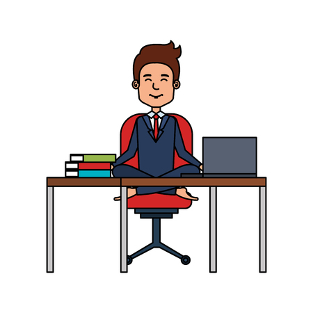 businessman with lotus pose in office vector illustration design Ilustração