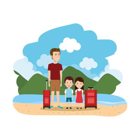 group of family on the beach vector illustration design Standard-Bild - 126775764