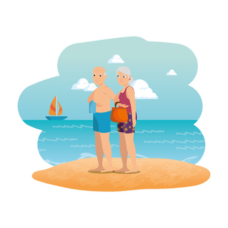 grand parents couple on the beach seascape scene vector illustration design