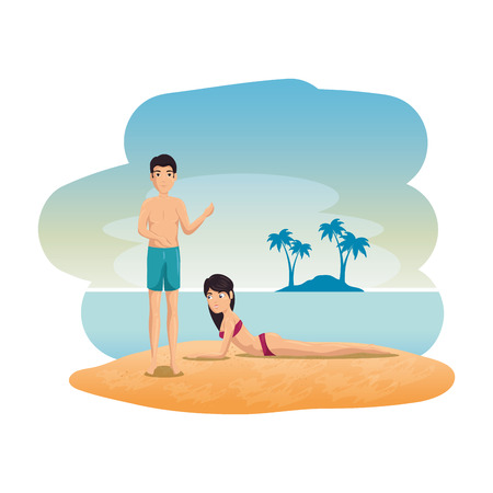 lovers couple on the beach seascape scene vector illustration design 矢量图像