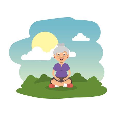 old woman in the camp scene vector illustration design Illustration