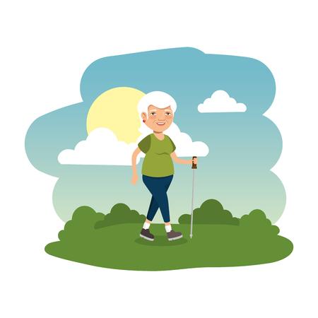 old man in the camp scene vector illustration design