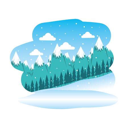 beautiful snowscape scene icon vector illustration design Illustration