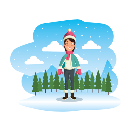 woman with christmas sweater and hat in snowscape vector illustration Standard-Bild - 126775840