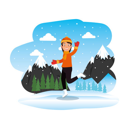 woman with christmas sweater and hat in snowscape vector illustration Standard-Bild - 126775841