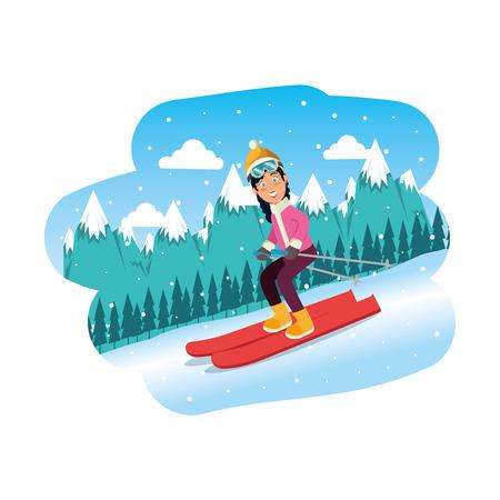 sport woman in snowboard scene vector illustration design Vetores