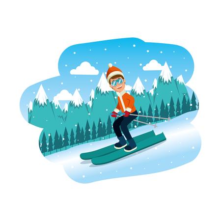 sportman in ski on the snowscape vector illustration design Standard-Bild - 126775843
