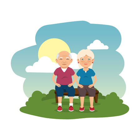 grand parents couple in the camp scene vector illustration design 矢量图像