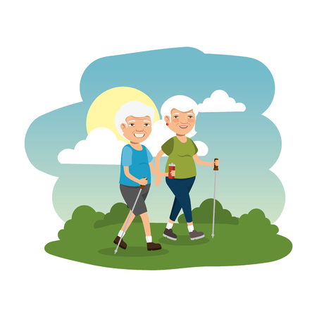 grand parents couple in the camp scene vector illustration design Illustration