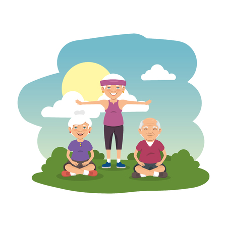 grand parents group in the camp scene vector illustration design