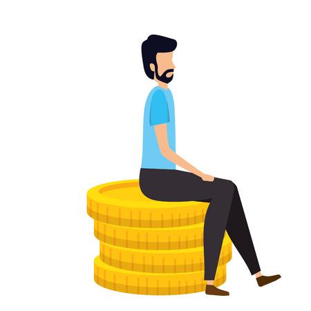 elegant businessman sitting in coins vector illustration design