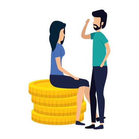 business couple sitting in coins vector illustration design