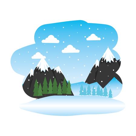 beautiful snowscape scene icon vector illustration design Standard-Bild - 126775891