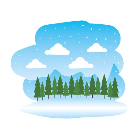 beautiful snowscape scene icon vector illustration design Çizim