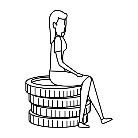 elegant businesswoman sitting in coins vector illustration design