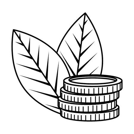 coins cash money with leafs plant vector illustration design Illustration