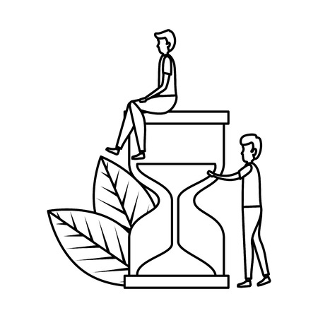 couple of men with hourglass and leafs vector illustration design