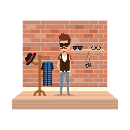 man hipster style with coat rack vector illustration design