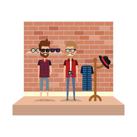 couple men hipster style with coat rack vector illustration design Stock Illustratie