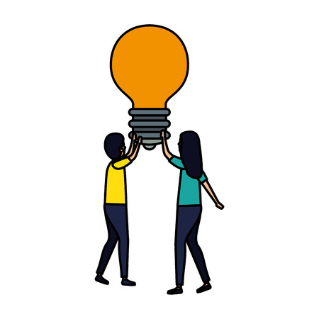 business couple with bulb vector illustration design